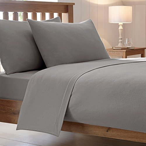 Cotton Works Luxury Combed Poly Cotton Plain Fitted Bed Sheet, Grey   Twin