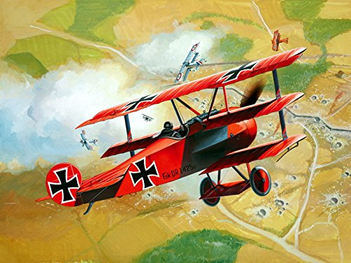 (Red Baron WW1 German Triplane Dogfight Air Forces Art 32x24 Print Poster )