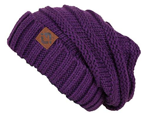F2-6100.74 Oversized Beanie - Dark Purple (Hats For Dreads)