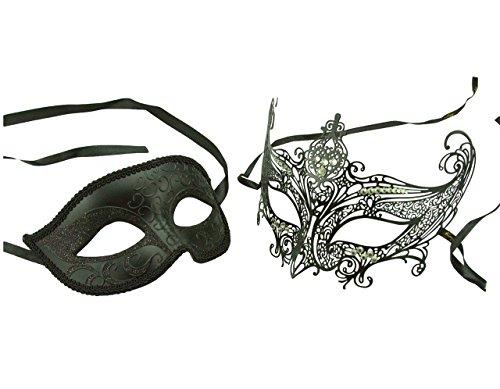 [KAYSO Couple Elegant Masquerade Masks with Laser Cut/Diamonds Costume] (Couple Masquerade Masks)