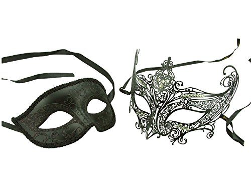 KAYSO Couple Elegant Masquerade Masks with Laser Cut/Diamonds Costume by KAYSO