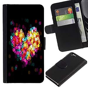 EJOY---Tirón de la caja Cartera de cuero con ranuras para tarjetas / Apple Iphone 6 / --BOKEH CORAZÓN COLORIDO