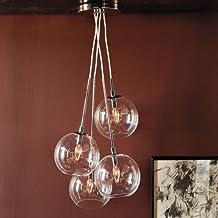 LightInTheBox 60W Artistic Modern Pendant with 4 Lights in Glass Bubble Design Modern Home Ceiling Light Fixture Flush Mount, Pendant Light Chandeliers Lighting, Voltage=110-120V