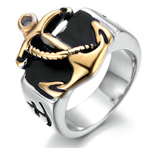 Stainless Steel Ring for Men, Anchor Ring Gothic Silver Band Gold Size 9 Epinki