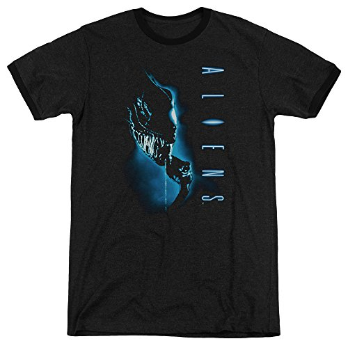 Aliens Classic Blue Unisex Adult Ringer T Shirt for Men and Women ()