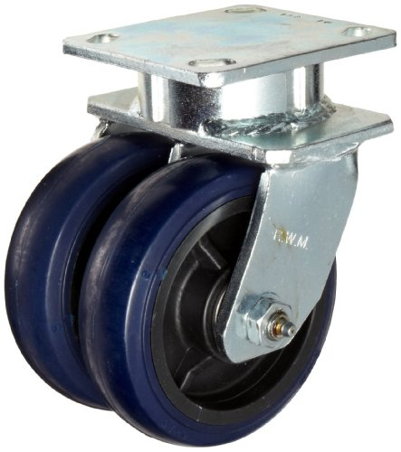 "RWM Casters 65 Series Plate Caster, Swivel, Kingpinless, Cast Iron Wheel, Roller Bearing, 1400 lbs Capacity, 8"" Wheel Dia, 2"" Wheel Width, 10-1/8"" Mount Height, 4-1/2"" Plate Length, 4"" Plate Width"