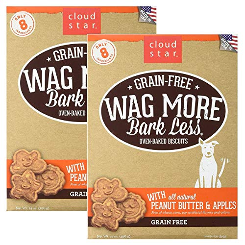 Cloud Star Wag More Oven Baked Grain Free Biscuits - 28 ounce Peanut Butter, Apples ()