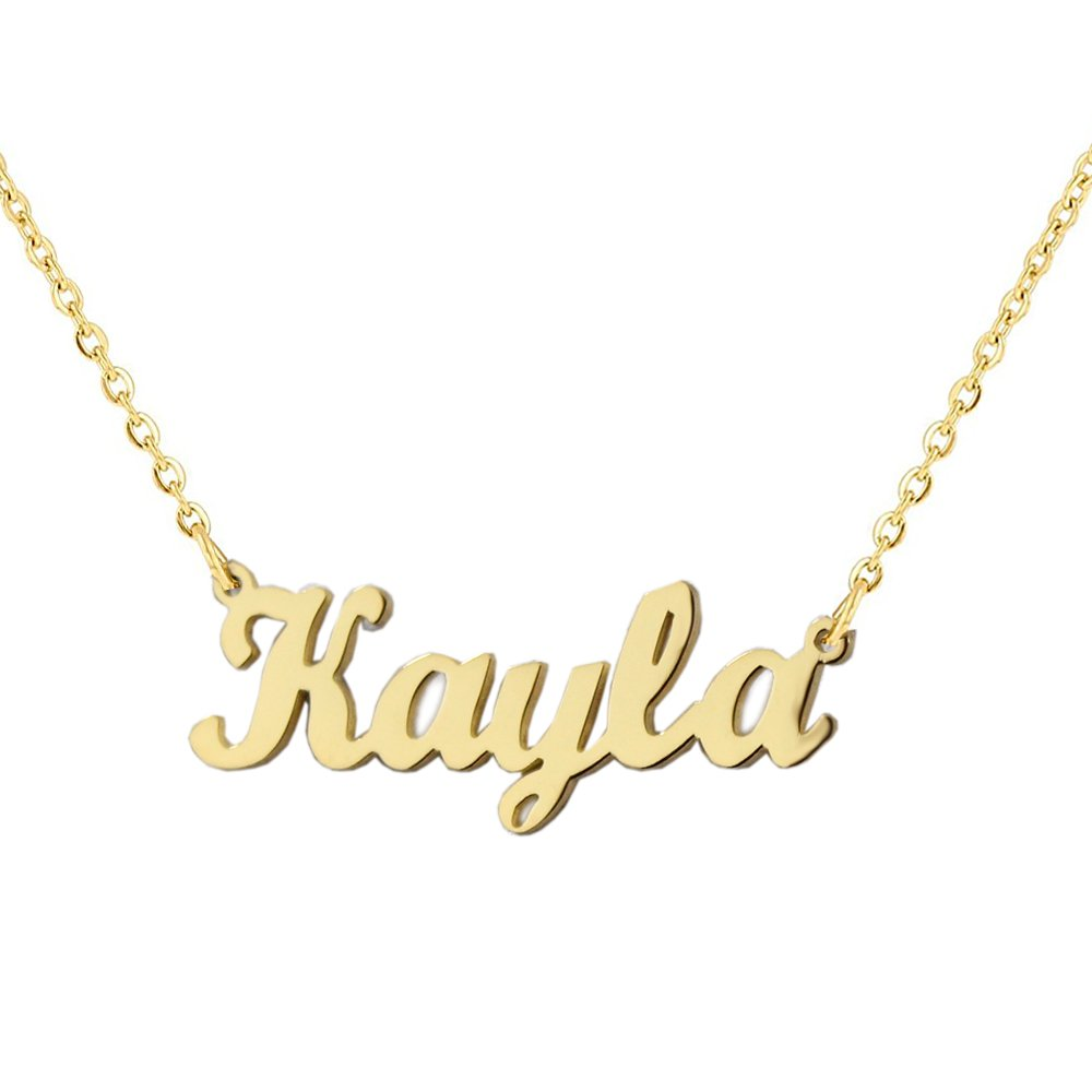 Romantic Gift Personalized Custom With Any Name Choker Necklace Stainless Steel with 18K Gold Plated Handwriting Signature Customized Nameplate Necklace (Gold Color)