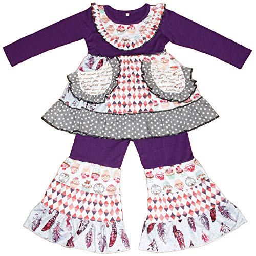 QLIyang Kids Girls Boutique Clothing Long Sleeve Ruffle Dress Pants Set Outfit 5T ()