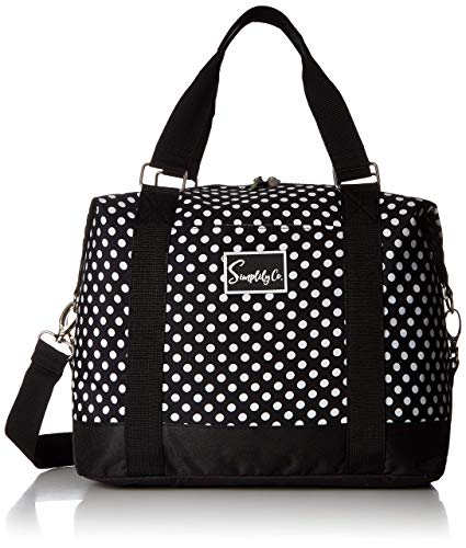 (Travel Weekender Overnight Carry-on Under the Seat Shoulder Tote Bag (Small, Black & White Polka Dot))