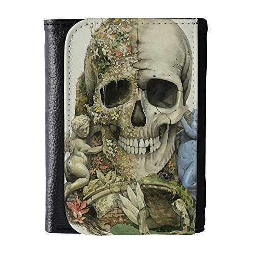 Personalized Black Face - YEX Men's With Half Flower Face Skull Black Leather Wallet Fashion Size M