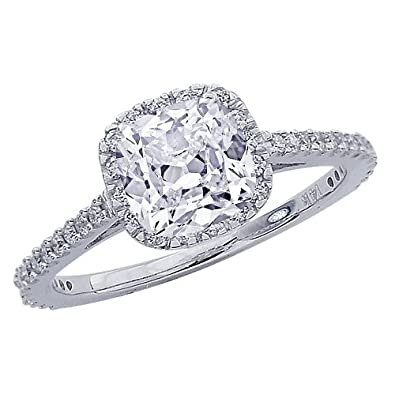 Gia Certified 1 07 Carat Classic Halo Diamond Engagement Ring Cushion Cut Shape H Color Vvs2 Vs1 Clarity 1 07 Cts 3 4 Ct Center