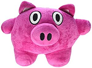 "Bubele Patch Buddies 7"" Playful Pig  Soft Plush Toy Hot Pink With Blanket"