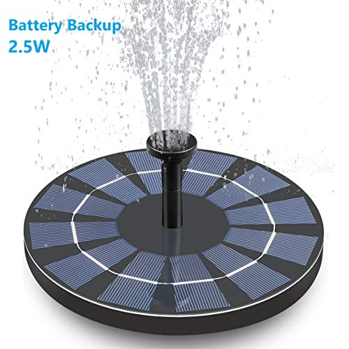 Hiluckey Solar Bird Bath Fountain with Battery Backup, 2.5W Free Standing Solar Powered Water Fountain Pump Kit for Birdbath Garden Outdoor (Bird Fountain Bath Solar)