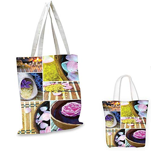 Organic Tote Spa (Spa fashion shopping tote bag Spa Organic Cosmetics Theme Wooden Bowl Petals Lavender Candle Pebbles Therapy Oil canvas bag shopping Purple Brown. 15