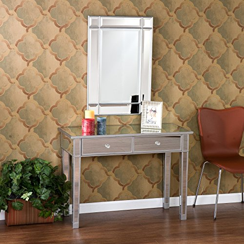 Southern Enterprises Mirage Mirrored 2 Drawer Media Console Table, Matte Silver Finish with Faux Crystal Knobs - Console Style Vanity