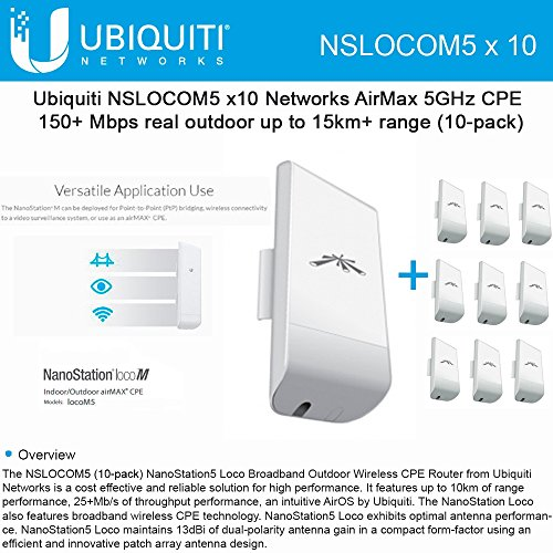 Ubiquiti LocoM5 10 units Nanostation Loco M5 5GHz Indoor Outdoor CPE 150+Mbps by Ubiquiti Networks