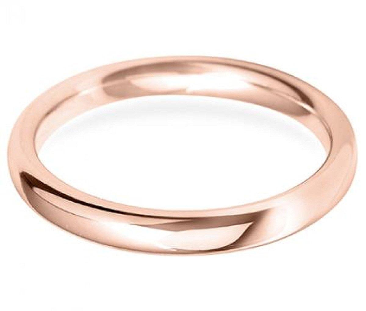 Dabangjewels 14k Rose Gold Plated 2.5 mm Plain Simple High Polish Classic Comfort Fit Engagement Wedding Band Ring