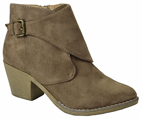 Suede Booties Faux Chunky Mid Taupe Zipper linda Metallic Women Heel Wedge Toe Stacked Almond Ankle S5 qpSzwnntOI
