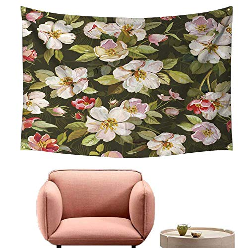 """Price comparison product image alsohome Bedroom Wall Tapestry Tapestry Dorm ROM Ti Eleg Ce Flowers Vintage 84""""X70"""""""