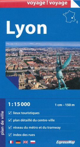 Lyon (France) 1:15,000 Street Map & Environs 1:100,000