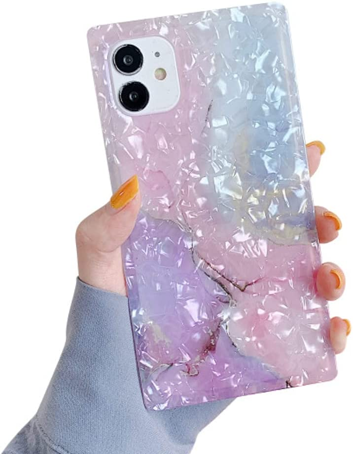SUYACS Square Case Compatible with iPhone 11 Pearl Crystal Glitter Pink Marbling Slim Soft TPU Silicone Protective Bumper Durable Ultra-Thin Anti-Fall Back Cover for Apple 11 6.1-inch (Pink)
