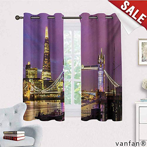 Blackout Curtain Draper,London,Tower Bridge in London at Night Historical Cultural Monument Europe British Urban,with Solid Grommet Top Purple Yellow,W72 Xl45 -
