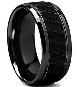 King Will HAMMER 8mm Black Tungsten Carbide Ring Hammered Brushed Mens Wedding Band Comfort Fit