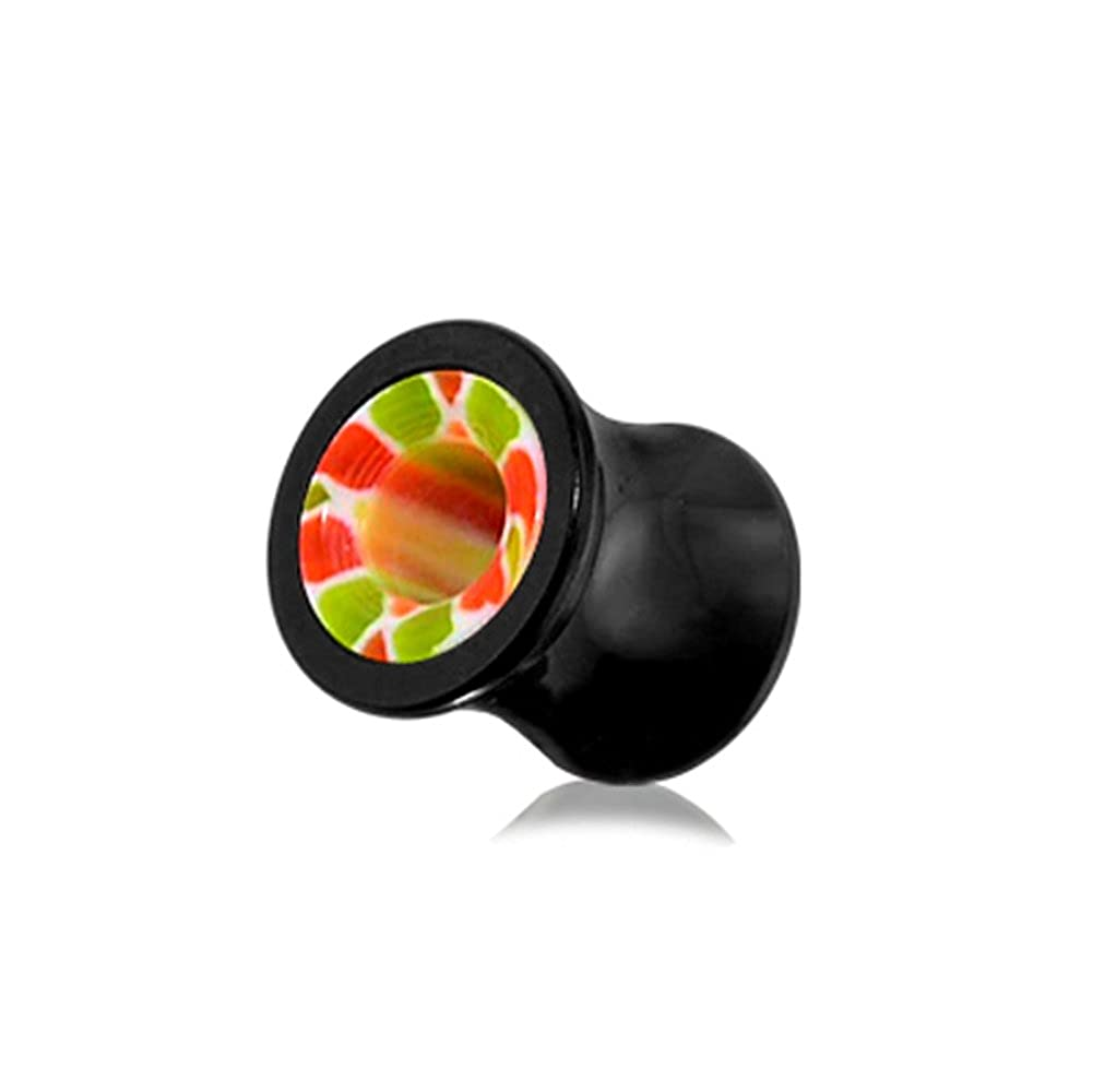 Green and Red Marble in Side Black UV Double Flared Ear Plug Body jewelry
