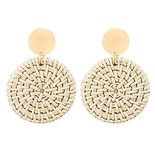 XOCARTIGE Woven Rattan Earrings Handmade Wicker Earrings Straw Knit Hoop Earrings Lightweight Raffia Braid Drop Dangle Earring for Women Girls (D-Round)