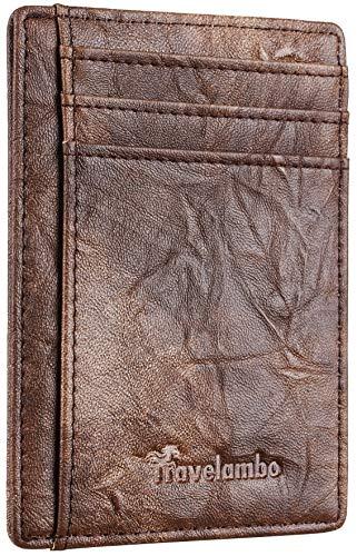 Travelambo Front Pocket Minimalist Leather Slim Wallet RFID Blocking Medium Size (Eucastle Khaki)
