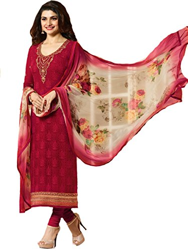 Ready Made Designer Indian Wear Straight Salwar Kameez Party Wear Timeless (Red, X-LARGE-44)