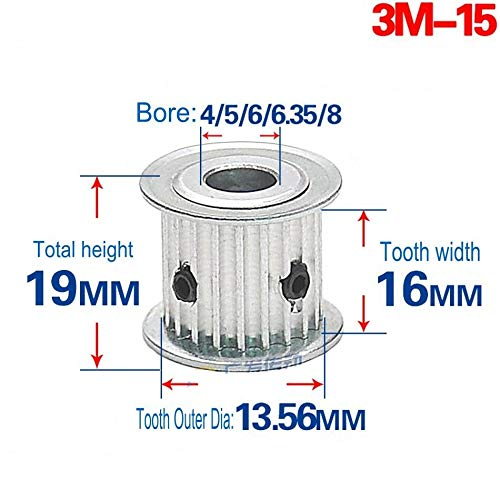 3M(12T-120T) Pitch 3mm Tooth Width 16mm Timing Belt Pulley Synchronous Wheel Gear, AF Type, Arc Teeth from Gump's grocery