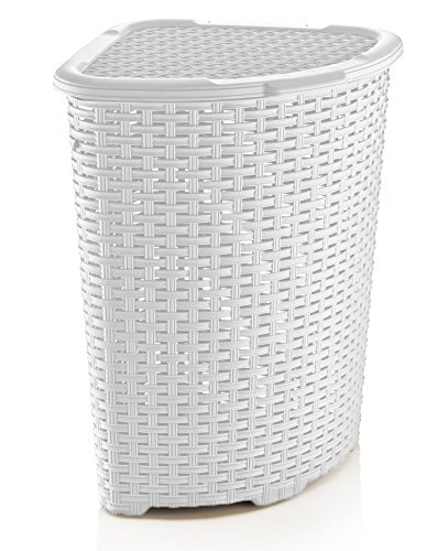 Superio rattan wicker style corner laundry hamper bushel 52 l white for your corner - High end laundry hamper ...