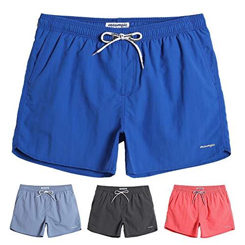 MaaMgic Mens Boys Short Solid Swim Trunks with Mesh Lining Quick Dry Mens Bathing Suits Swim Shorts, Royal ()