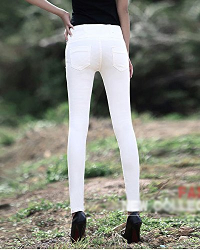Cintura Tres Botones blanco Skinny Mujer Hohe Jeans Stretch Alta con Taille Vaqueros 1Zvxp5q