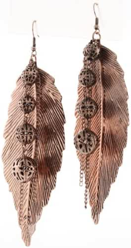 Metal Leaf Shape and Fancy Balls Dangle Earrings