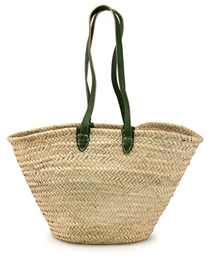 (Moroccan Straw Market Shoulder Bag w/Green Leather Straps, 21