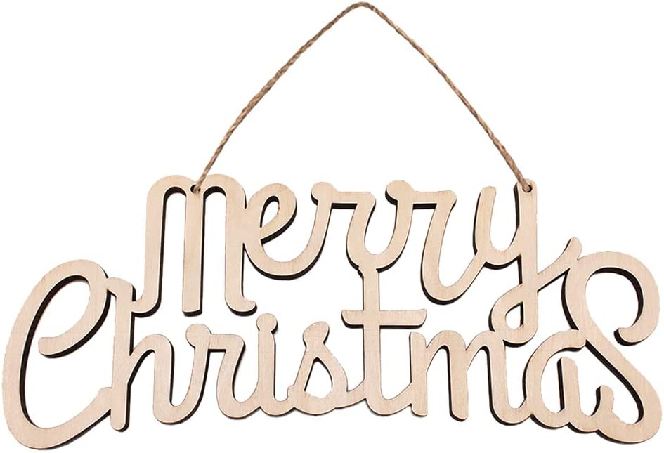 SUPVOX Merry Christmas Wooden Cutout Letter Plaque Hanging Signs Home Decoration