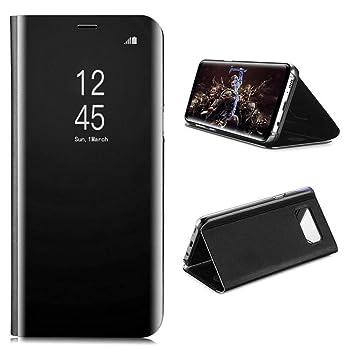 AURSEN Case de Teléfono para Samsung Galaxy S8, Flip Cover Carcasa, Soporte Plegable, Cierre Magnético - Color Negro