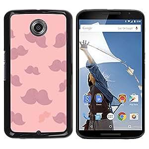 YOYOYO Smartphone Protección Defender Duro Negro Funda Imagen Diseño Carcasa Tapa Case Skin Cover Para Motorola NEXUS 6 X Moto X Pro - bigote rosadas nubes púrpura minimalista