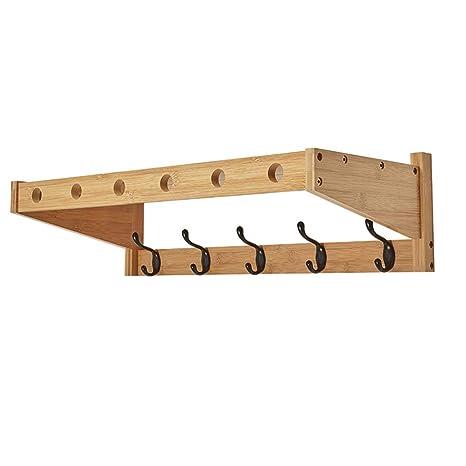 Perchero de pared con estante de pared para perchero (4 ...