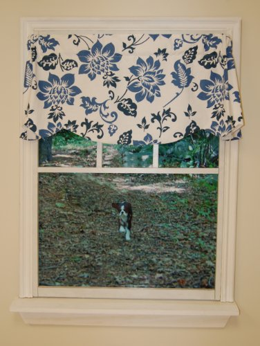 Curtain Chic Jacobean Abstract Beacon Valance, Delft Blue