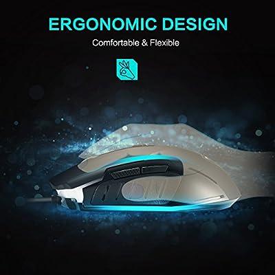 PICTEK Ratón Gaming [Nueva Vision] 2400DPI LED Ratones Gaming, Cableado Computadora Raton Gaming Programable Guay LED [4 dpi Ajustable] Raton Juegos ...