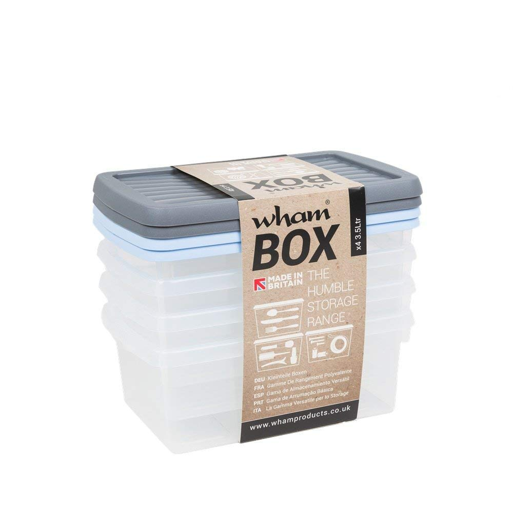 Wham Box The Humble Storage Range with Lids Set of 4 Assorted Lid Colours 3.5L 118 fl oz
