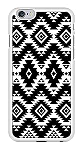 Black and White Geometric Aztec Pattern Snap-On Cover Hard Plastic Case for iPhone 6 (White) by lolosakes
