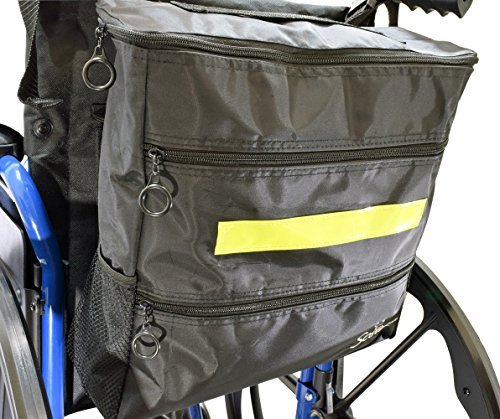 Secure WBP-1B Wheelchair Storage Backpack Bag with Multiple Pockets and Nighttime Safety Reflector, Black (13'' x 12.5''x 3'') by Secure (Image #4)