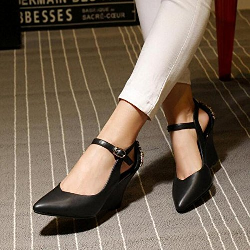 Heels White Evening Peep Heel Shoes Wedding Black Black Wedges Women's Toe Platform Sandals CPtUqxaw