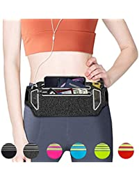 """Slim Running Belt, Fanny Packs Waist Pack for Cell Phones, Running Pouch Phone Holder with Two Zippers Bag for Women Men Runners, Workout Gym Accessories Fits up to 6.5"""" Phones"""