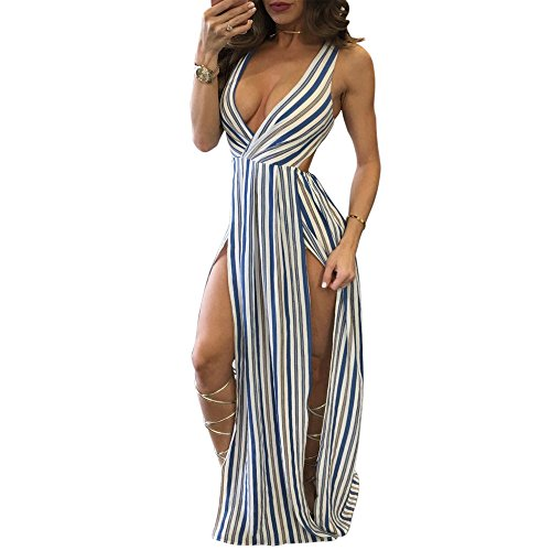 Wancy Womens Sleeveless Deep V Neck Striped High Waist Split Beach Long Maxi Dress Blue Large (Cut Dress Sexy Out Side)